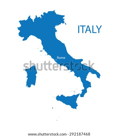 blue map of Italy  - stock vector