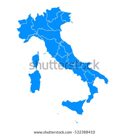 Blue map of Italy