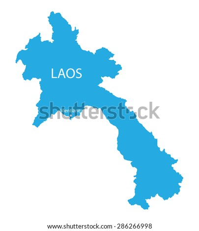 blue map of Laos - stock vector