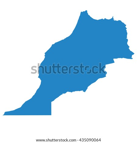 blue map of Morocco - stock vector