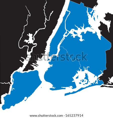 blue map of New York - stock vector