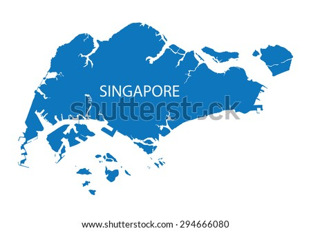 blue map of Singapore - stock vector