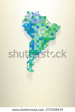 Blue map of South America with round white transparent rings overlay that can be used to locate different points - stock vector