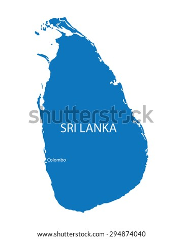 blue map of Sri Lanka with indication of Colombo - stock vector