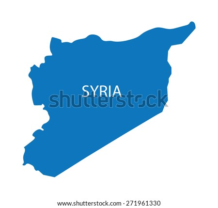 blue map of Syria - stock vector