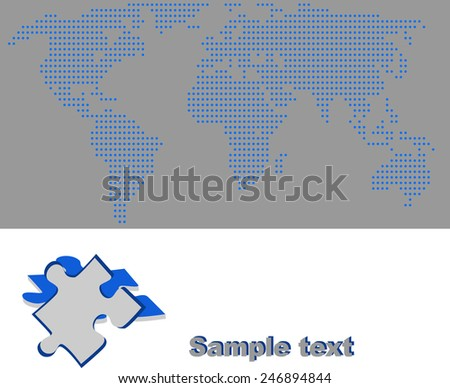 Blue map of the world and puzzle piece. - stock vector