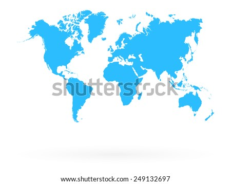 Blue Map Of The World Isolated On White With Shadow