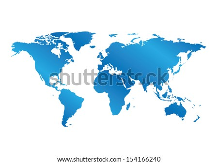 blue map of the world with gradient - vector. Eps 8. - stock vector