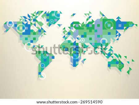 Blue map of the world with round white transparent rings overlay that can be used to locate different points - stock vector