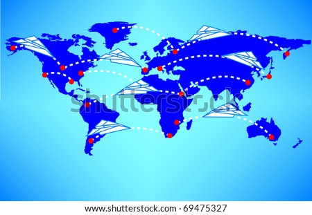 Blue map of the world with whimsical paper airplanes criss crossing it, symbolizing connectivity and communication