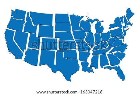 blue map of USA- concept of disintegration, secession of United  - stock vector
