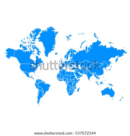 Blue map of World