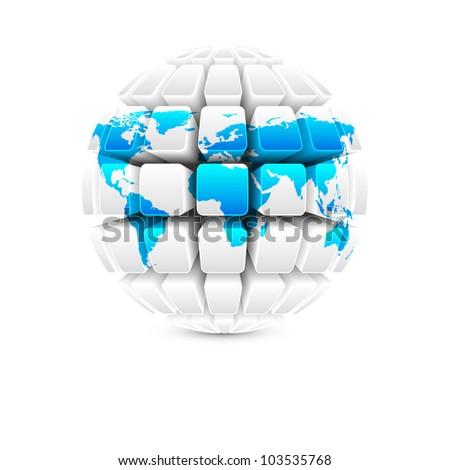 blue map on white globe vector - stock vector