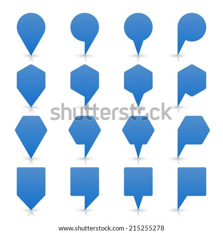 Blue map pin sign location icon with gray shadow and reflection on white background  in simple flat style. This web design element save in vector illustration 8 eps - stock vector