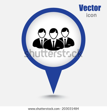 Blue map pointer  icon - stock vector