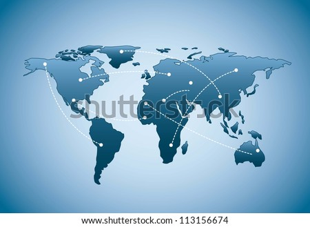 blue map with shadow over blue background. vector illustration - stock vector
