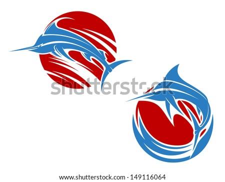 Blue marlin fish in ocean waves for mascot design - stock vector