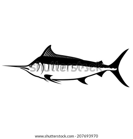 Blue Marlin Silhouette Isolated on White - stock vector