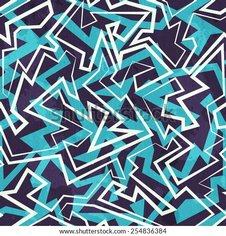 blue maze seamless pattern with grunge effect  - stock vector