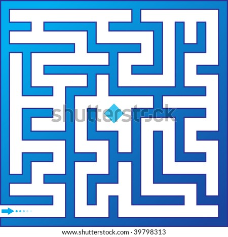 Blue maze. Vector illustration.