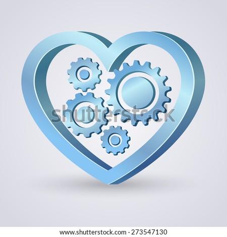 Blue mechanical heart - stock vector