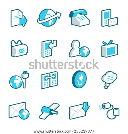 Blue media and communication vector icons.