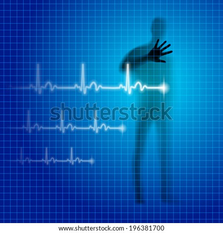 Blue medical background with human silhouette and cardiogram line - stock vector