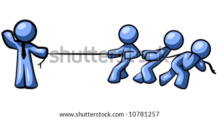 Blue Men playing tug of war. Its evident the one on the left is much stronger than his competition. - stock vector