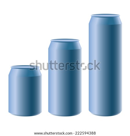 Blue metal cans short medium long size isolated on white - stock vector