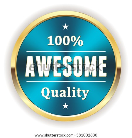 Blue metallic awesome quality badge with gold border