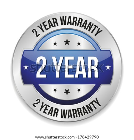 Blue metallic two year warranty button - stock vector