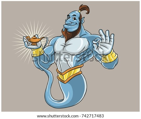 blue middle east arabian spirit genie jinn cartoon character
