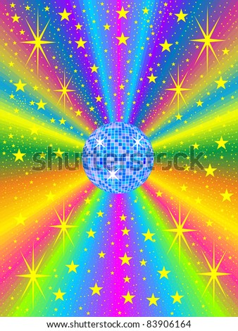 blue mirror ball with colored background - stock vector