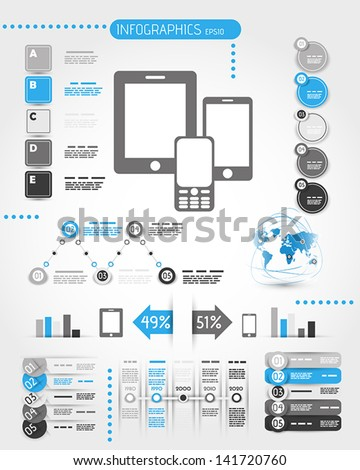 blue mobile phone world infographics.  infographic concept - stock vector