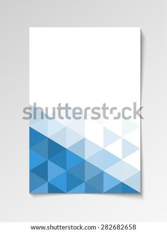 Blue modern flyer design template triangle vector - stock vector