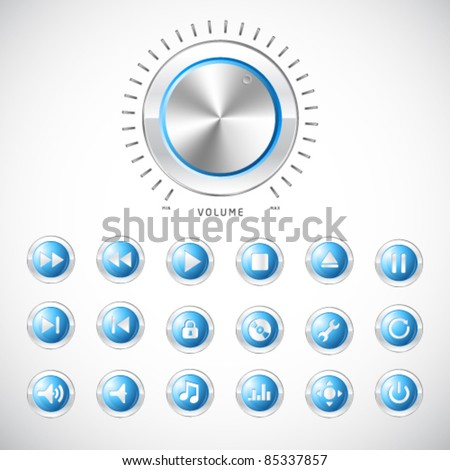 Blue modern media button collection with volume control handle - stock vector
