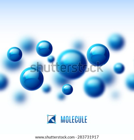 Blue molecular structure. Abstract background with blur effect