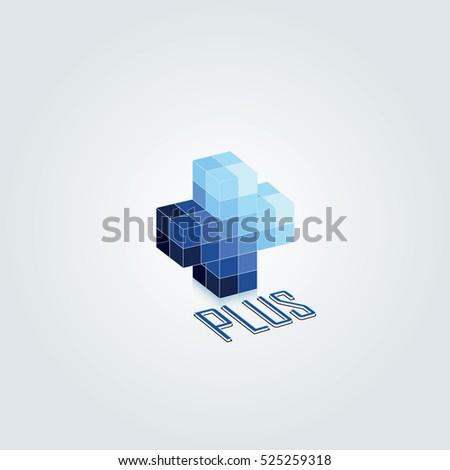 Blue Monochromatic Color 3d Plus Vector Design