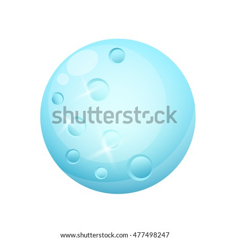 Blue moon isolated on a white background. Game Design. Vector illustration