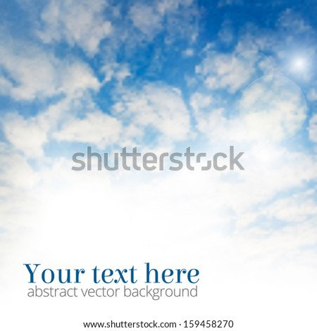 Blue morning sky with clouds and summer sun burst - stock vector