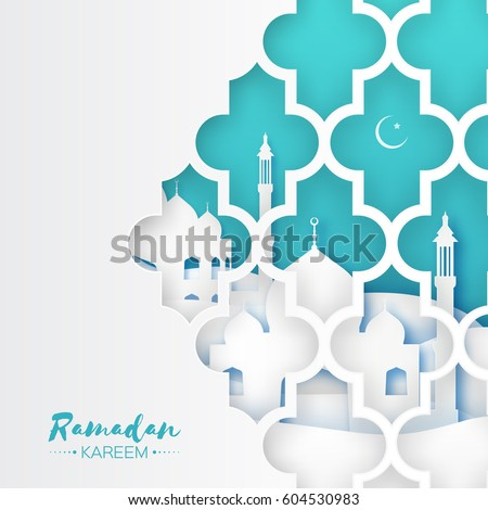 Blue Mosque Window. Origami Ramadan Kareem Greeting card with arabic arabesque pattern. Holy month of muslim. Crescent Moon. Symbol of Islam. Applique Design Vector illustration.