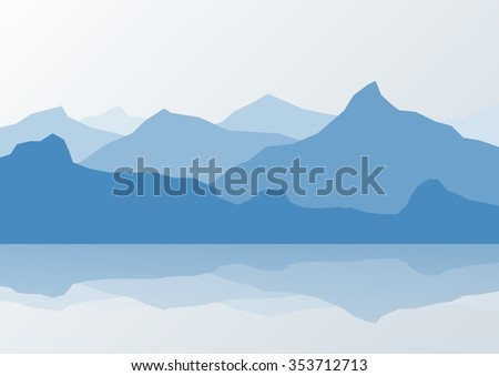 Blue mountain landscape and reflection in lake, vector illustration