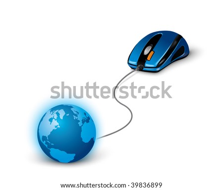 blue mouse connecting the Earth - stock vector