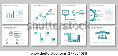 Blue multipurpose presentation template brochure flyer flat design set for marketing and advertising 1 - stock vector