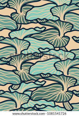 Blue mushroom abstract. Seamless pattern background