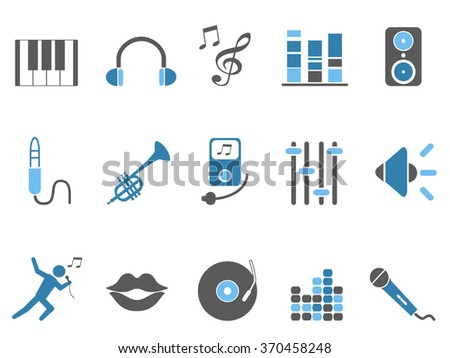 blue music audio icons set - stock vector