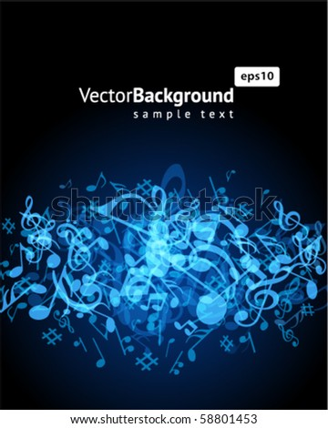 Blue music background with fly notes - stock vector