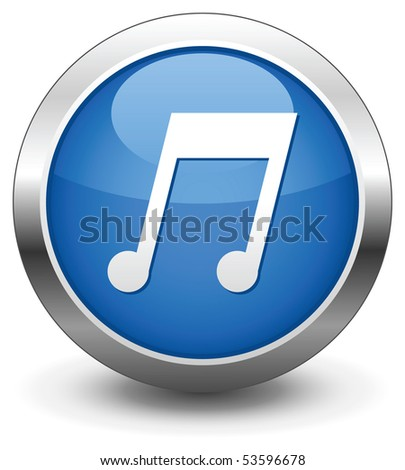 Blue music button vector - stock vector