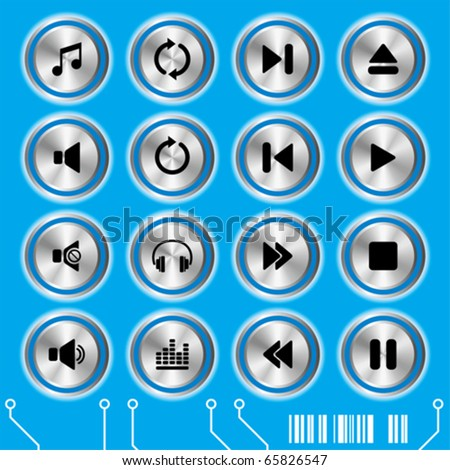 Blue music icons set. Illustration vector.