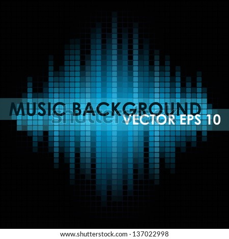 Blue music mosaic background. Vector version. - stock vector